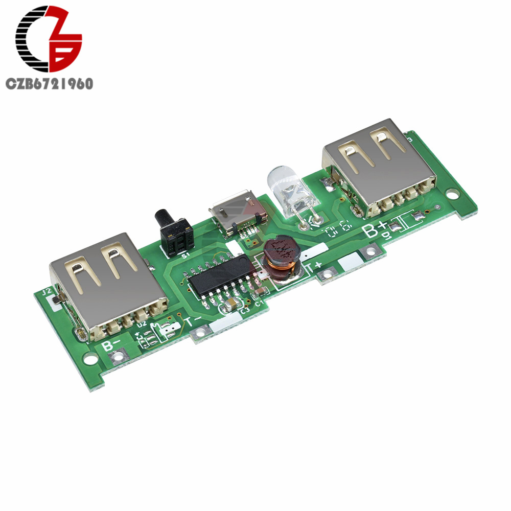 2 USB Output DC 5V 2A 1A Mobile Power Bank Charging Module Micro USB 18650 Lithium Battery Charger Baord DIY