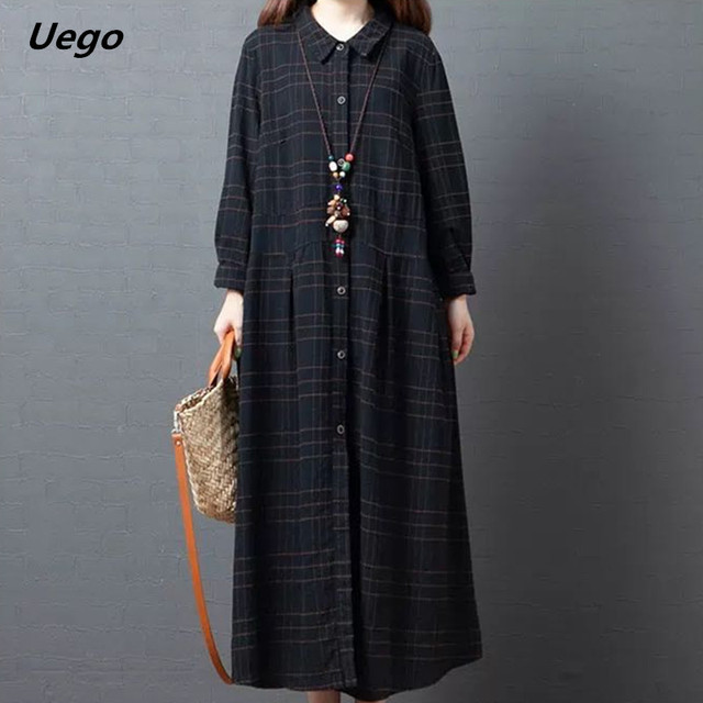 Uego Plaid Fashion Blouse Dress Long Sleeve New Autumn Dress Cotton Linen Loose Women Dress Plus Size Female Casual Spring Dress 1