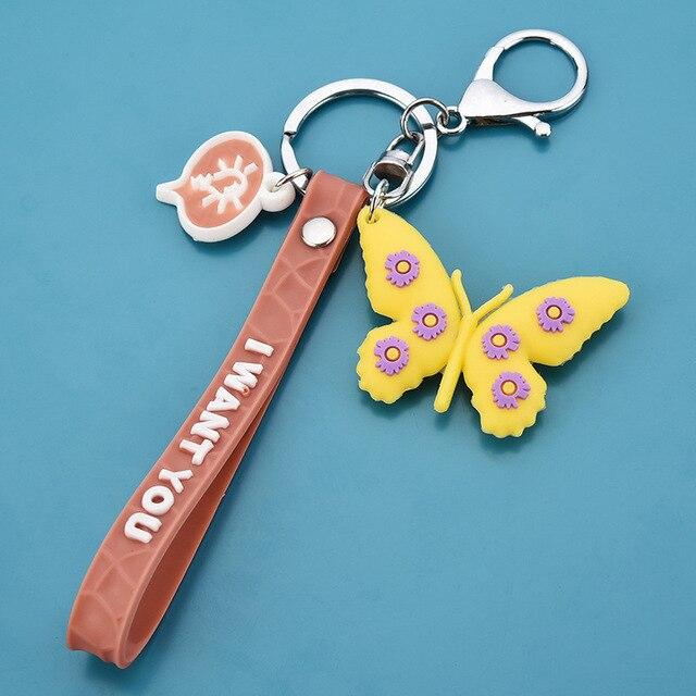Фото новый 3d брелок бабочка с милым принтом маленькая маргаритка цена