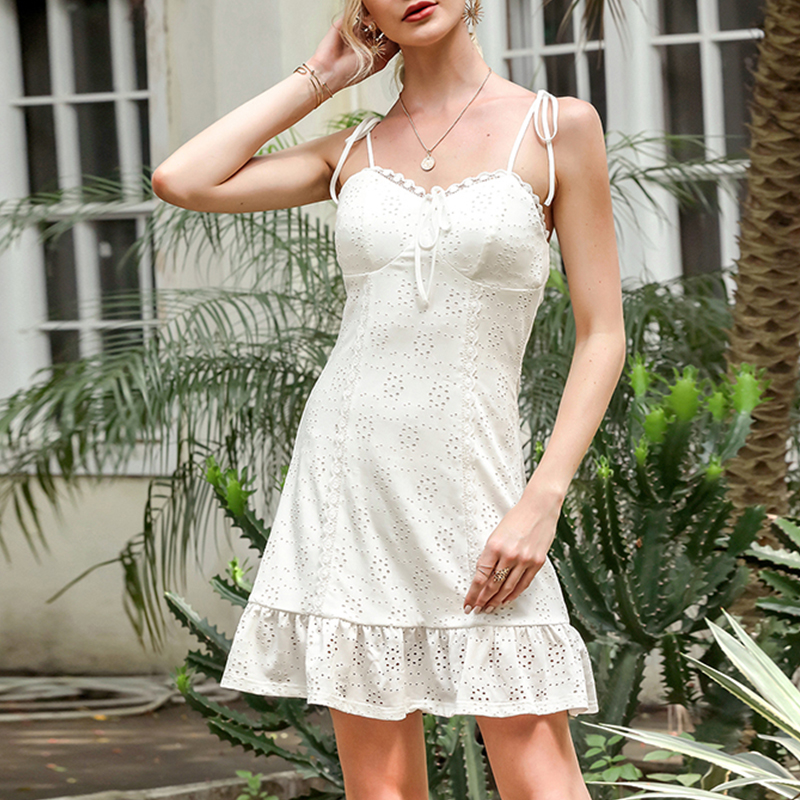 Oforest Adjustable sleeveless white dress Fashion ruffled hollow out flower mini dress Sexy boho lace holiday v neck party dress