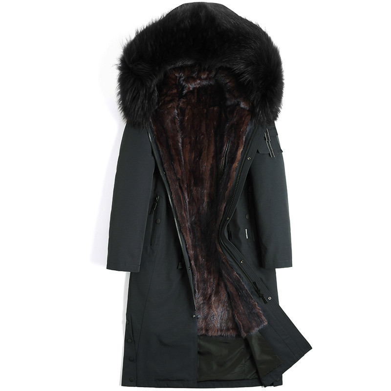 Real Fur Coat Natural Mink Fur Liner Parka Real Raccoon Fur Collar Jacket Mink Fur Coat Winter Jacket Men Plus Size 4528 YY728