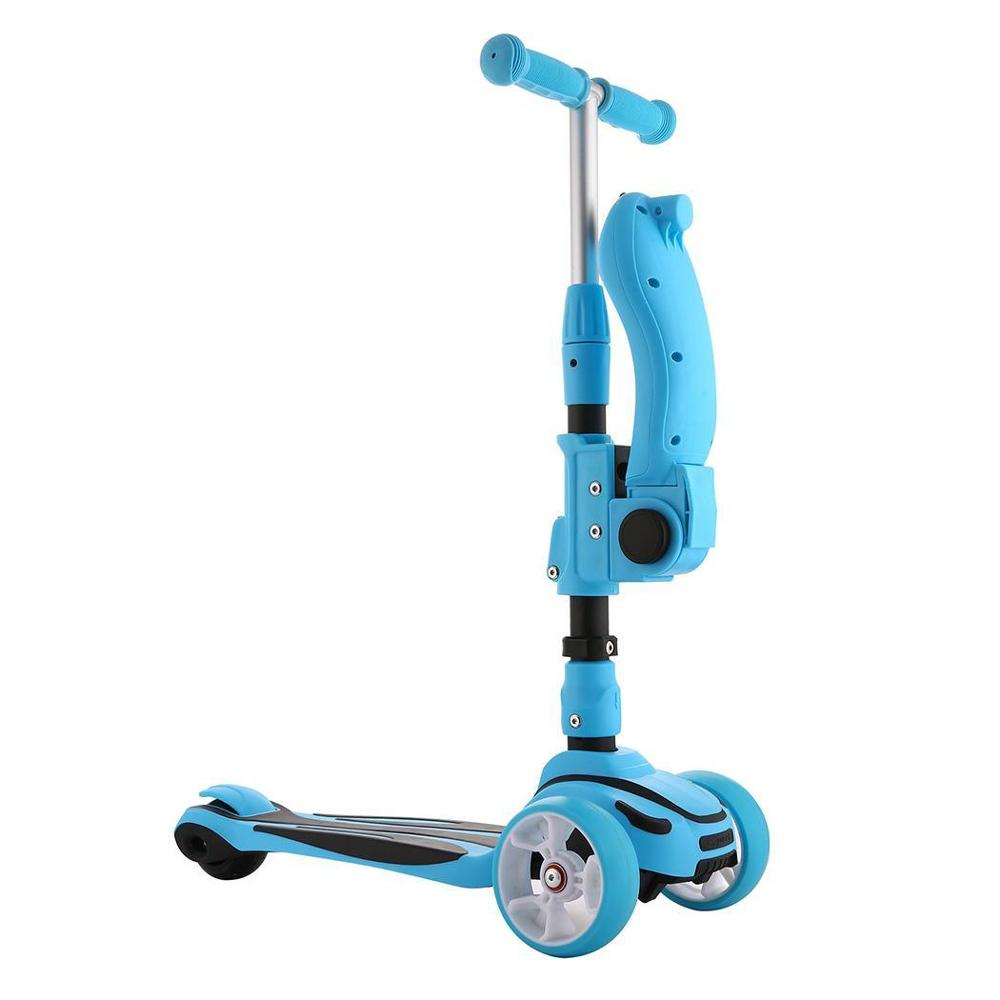 Foldable Kick Scooter with Adjustable Seat and 3 wheels for Kids 1
