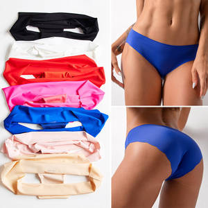 Women Underwear Pant Seamless Low-Waist Sexy Invisible Ladies Silk Solid Briefs Lingerie