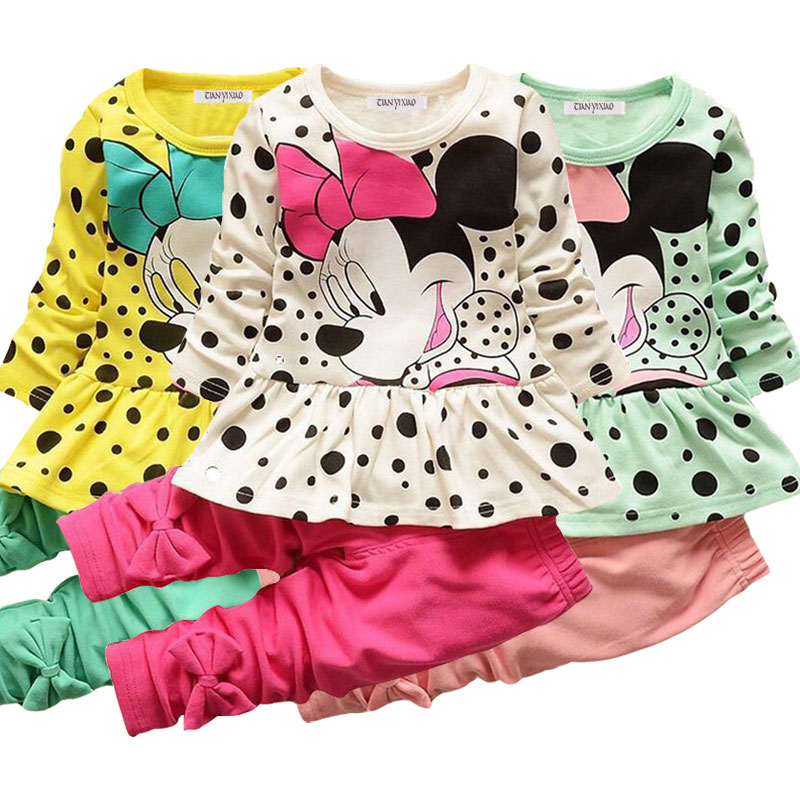 Baby Baby Girl Clothes Cotton Sports Suit Cartoon Cute Mickey Print Children's Clothing Children's Casual Clothes Baby Clothes