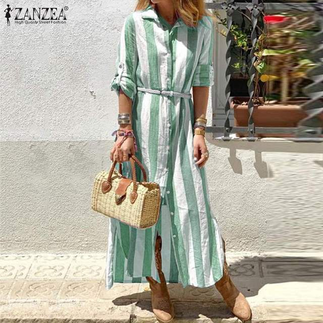 Bohmeian Striped Maxi Dress ZANZEA 2019 Women's Summer Sundress Female Long Sleeve Shirt Vestidos Plus Size Tunic Robe Femme 5XL