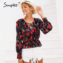Women Shirt Blouse Simplee Lace-Up Blusas Long-Sleeve Floral-Print Ruffles Female V-Neck