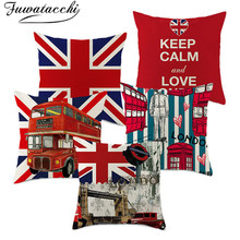 Fuwatacchi Linen Bus Letter Cushion Cover United Kingdom National Flag Pillow Cover for Home Sofa Chair Decorative Pillows 45*45 countries national flag pattern linen throw cushion cover for home car office