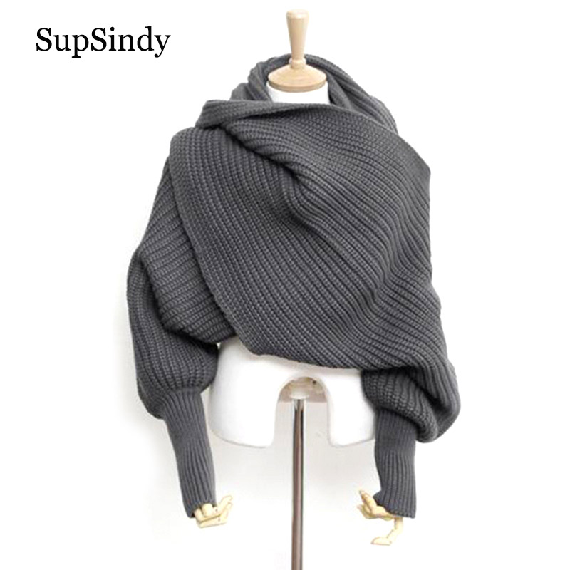 SupSindy European Style Winter Women Long Scarf With Sleeves Wool Knitted Scarves For Women Thick Warm Casual Shawl High Quality