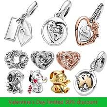 2021 venda quente novo 925 grânulos de prata esterlina corações rosa flores encantos caber pandora original pulseira feminino jóias presente diy