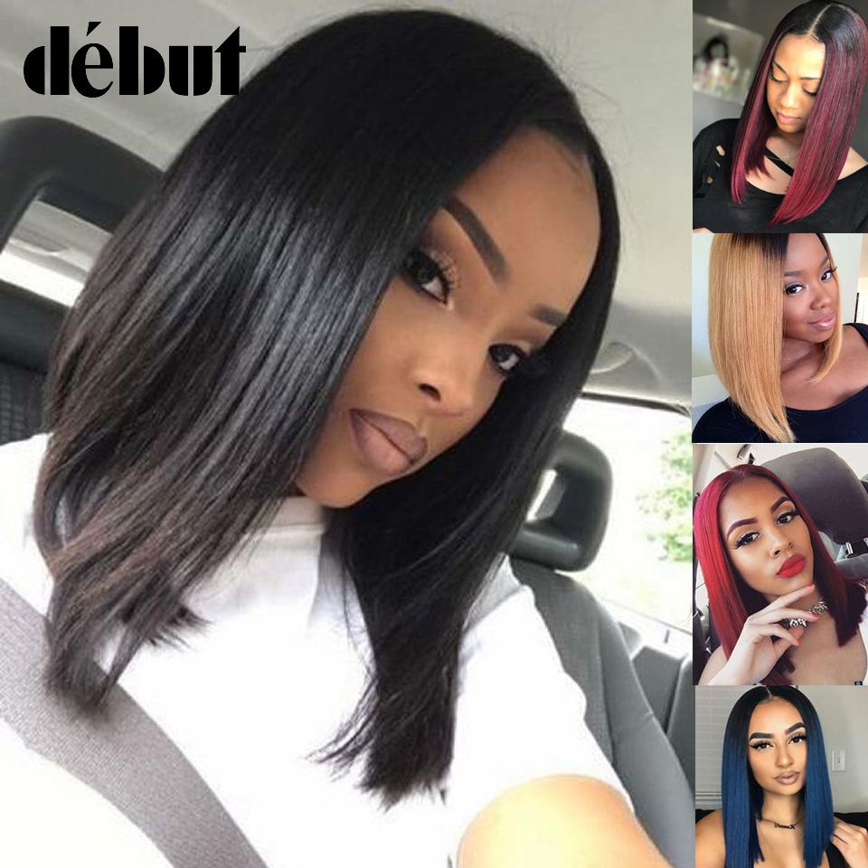 Cheap Blue Ombre Lace Part Human Hair Wigs 99J Red Lace Front Human Hair Wigs Natural Black Debut Brazilian Straight Bob Wigs