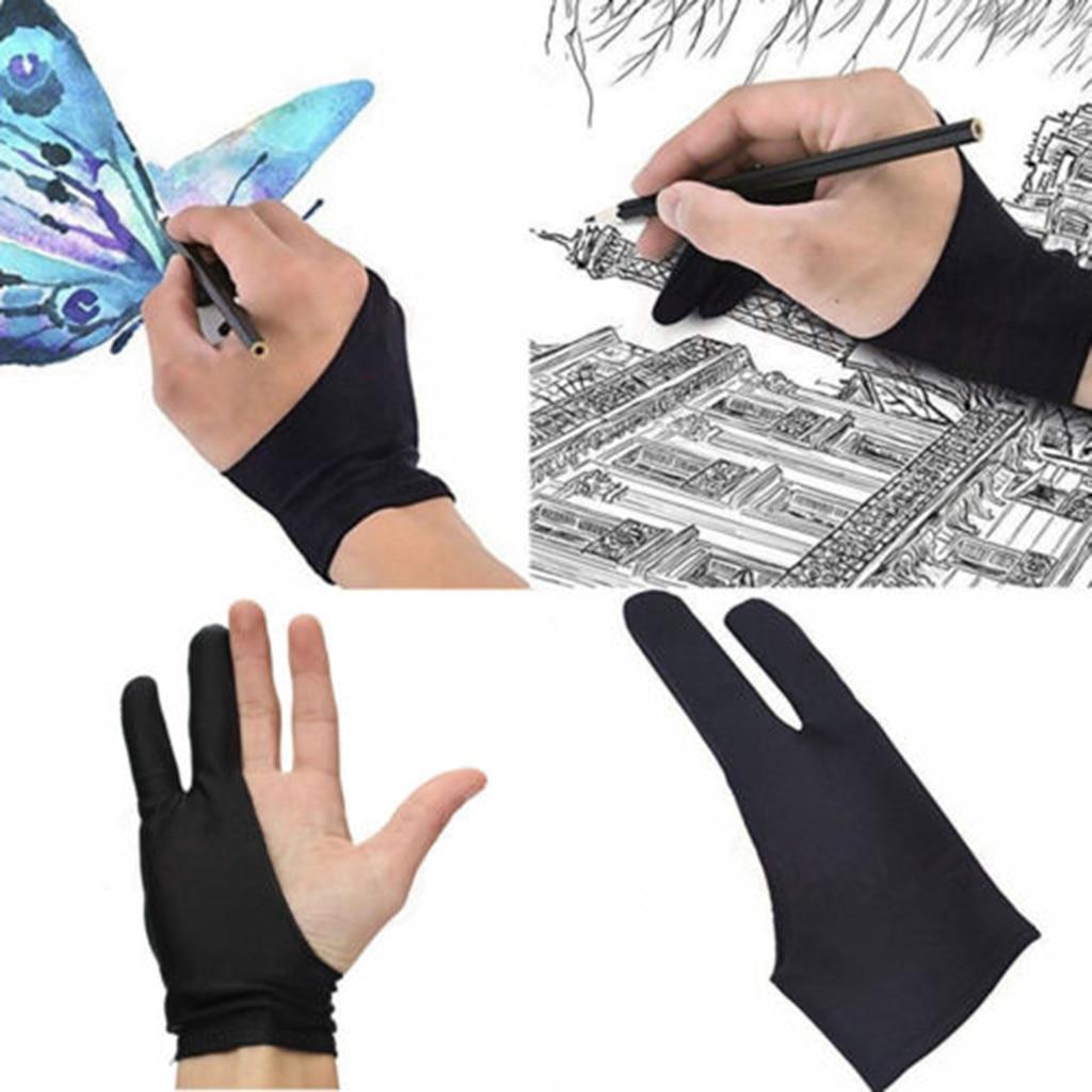 Preto 2 dedo luva anti incrustação, tanto para o desenho do artista da mão direita e esquerda para qualquer desenho gráfico tablet #50g Luvas para uso doméstico    -