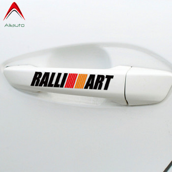 Aliauto 4 X Ralliart Car Door Handle Sticker & Decal Accessories for Mitsubishi Lancer Asx Outlander Pajero Galant image