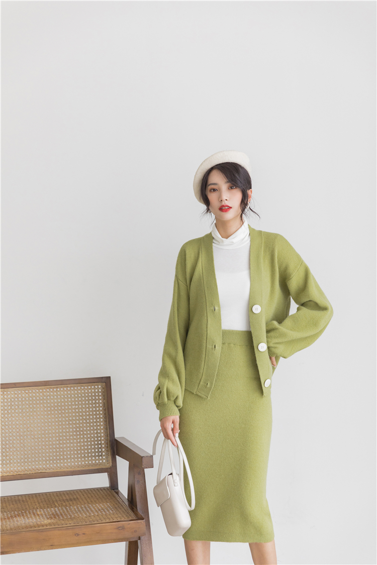 H1c90ff3d5c2546ef8408c81f33a83323C - Autumn / Winter V-Neck Cardigan and Solid Midi Pencil Skirt