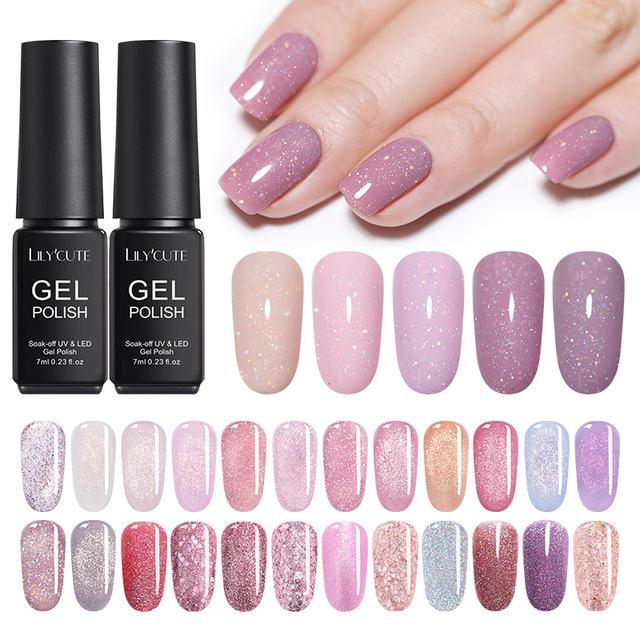 LILYCUTE  2Pcs/Lot Glitter UV Nail Gel