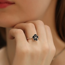 Vintage Silver Color Rose Flower Ring Wedding Engagement Rings for Women Lover Gift Romantic Jewelry Gift cuteeco hight quality silver pan ring love heart ring original wedding jewelry gift for lover engagement accessories
