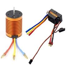 OCDAY 10T 3930KV 4 polen Sensorless Borstelloze Motor met 60A Electronic Speed Controller Combo Set voor 1/10 RC Auto en Truck