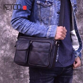 AETOO Famous Brand Genuine Leather Men Bags Casual Business Travel Mens Messenger Bag Vintage Men's Crossbody Bags bolsas male