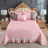 Luxury Embroidery Egyptian Cotton Bedspread Lace Qulited Double Queen King Bed Cover With Pillowcases 3 piece European