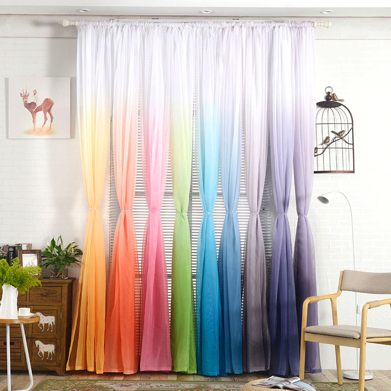 Purple Gradient Color Tulle Curtains For Living Room Modern Bedroom Organza Voile Fabrics Curtains For Kitchen Window Panels