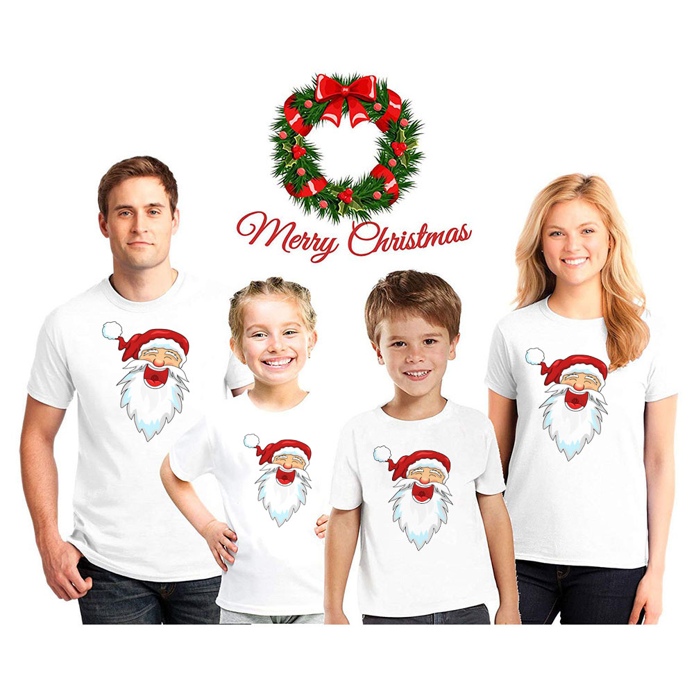 Santa Christmas Family Clothes Child Baby Kid Dad Mom Matching Family Outfits Casual Party Tshirts Wear Holiday Fashion