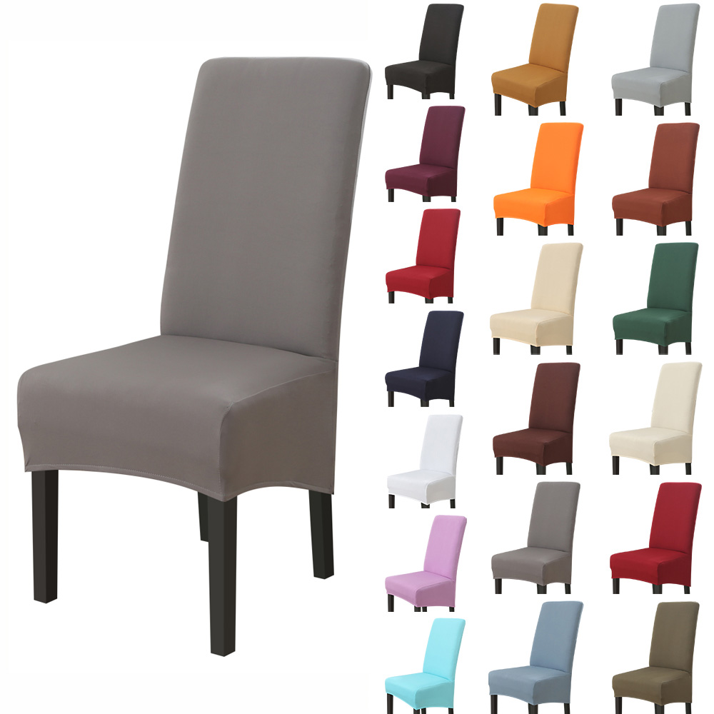 Efficient 1/2/4pc Big Chair Cover Solid Color Elastic Seat Chair Covers Stretch High King Back Slipcovers For Dining Wedding Banquet Hotel
