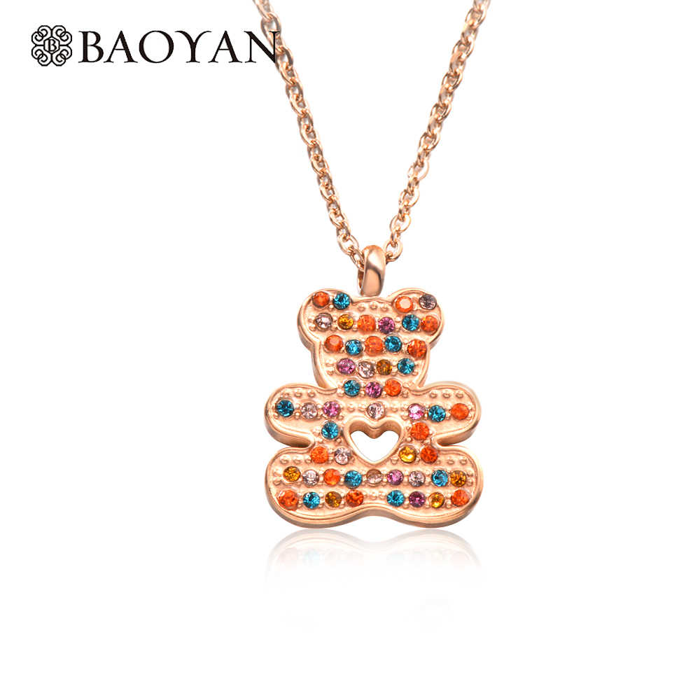 Baoyan Cute Couple Necklace For Lovers Stainless Steel Necklace Woman Gold Crystal Hollow Heart Bear Necklace Pendant For Women