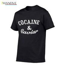 Fashion 100% cotton T-shirt Brand Clothing Hip Hop Tees Cocaines & Caviar Men T Shirt Short Sleeve High Quality clothing