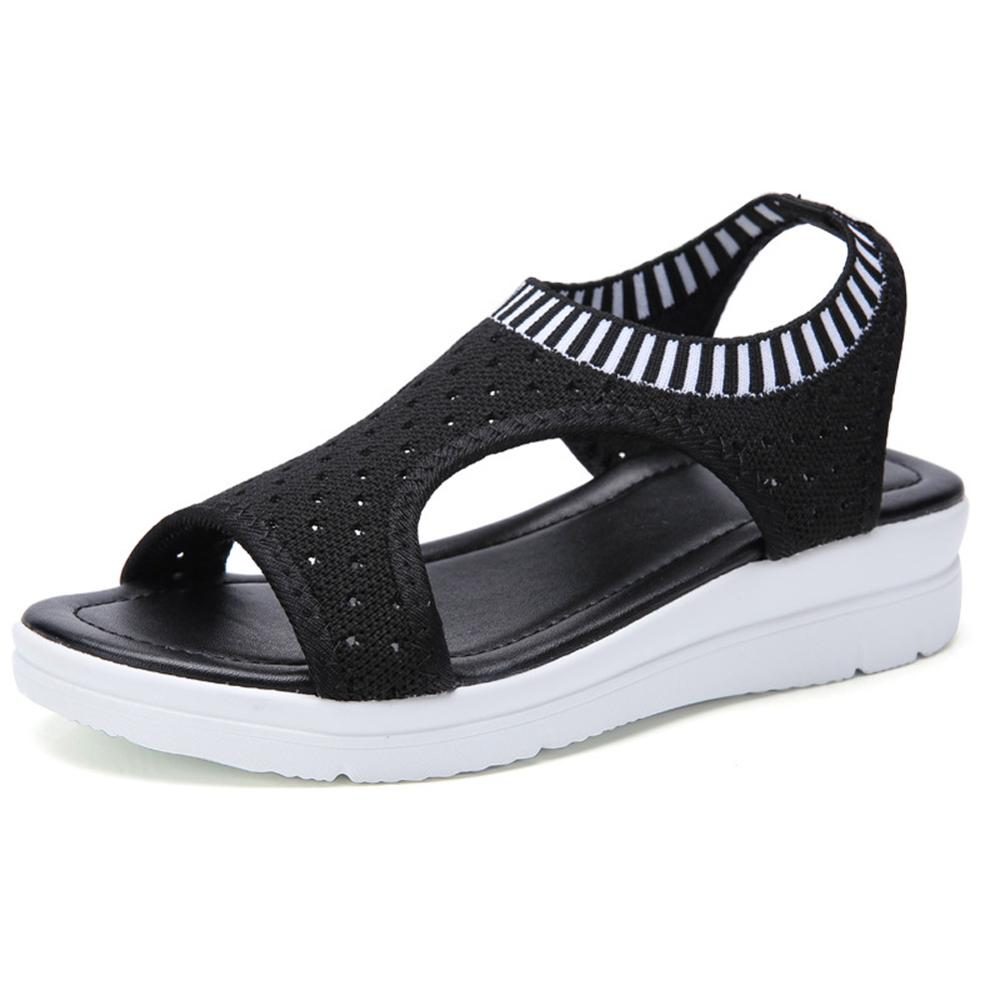 Women Summer Sandals Slip-on Flat Ladies Sandals Comfy Wedge Female Shoes Fashion Breathable Girls Sandals WJ043(China)