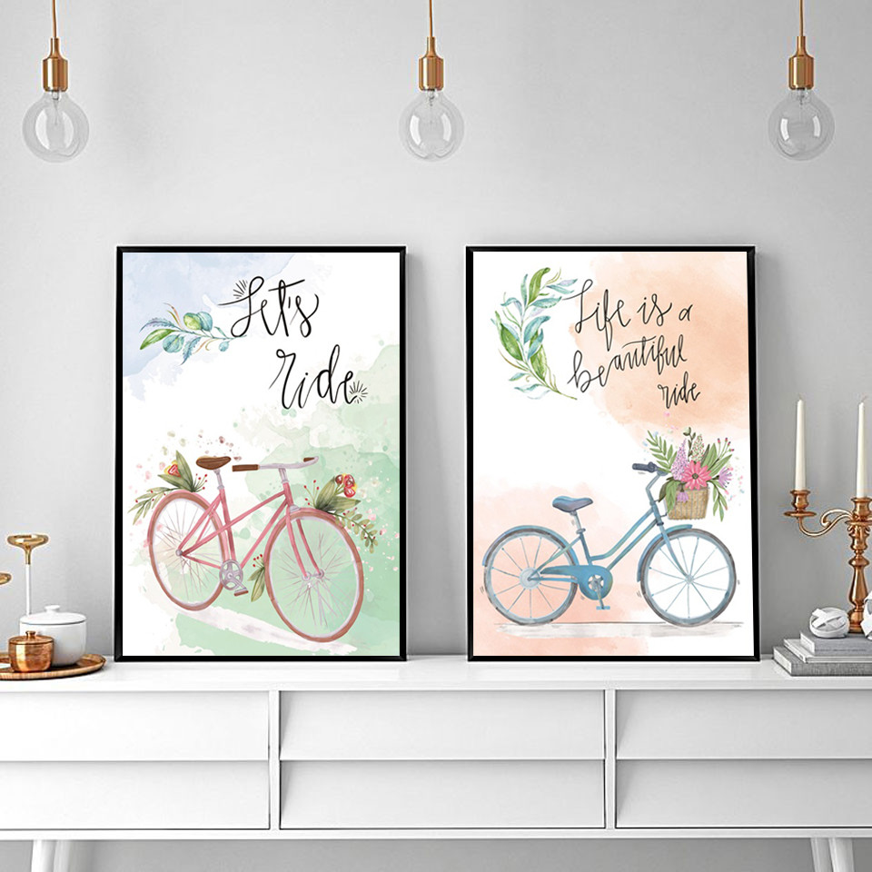 Letters-and-Bicycle-Home-Decoration-Canvas-Painting-Bedroom-Living-Room-Posters-Hd-Printing-Pictures-with-Waterproof