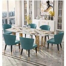 U-BEST, итальянский мраморный обеденный стол, скандинавский Прямоугольный светильник из нержавеющей стали, роскошный обеденный стол