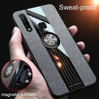 Перейти на Алиэкспресс и купить Магнитный ударопрочный чехол для VIVO Z5X Z1 Pro, Силиконовый ТПУ чехол для задней панели телефона, тканевый чехол с подставкой и кольцом-держател...