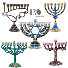 H&D 5 styles Hanukkah Hand Painted Enamel Menorah Candelabra Chanukah Temple Candlesticks 9 Branch Star of David Candle Holder