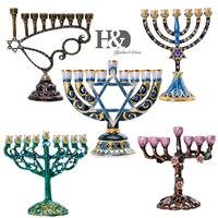 H&D 5 styles Hanukkah Hand Painted Enamel Menorah Candelabra Chanukah Temple Candlesticks 9 Branch Star of David Candle Holder