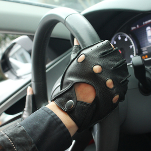 Image 3 - Gours primavera luvas de couro genuíno masculino condução unfored 100% deerskin meia fingerless luvas fitness gsm046l