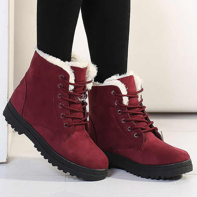 LAKESHI Snow Boots Thick Warm Women Boots 2019 New Winter Fur Leather Suede Ankle Boots Women Shoes Plus Size 35-43