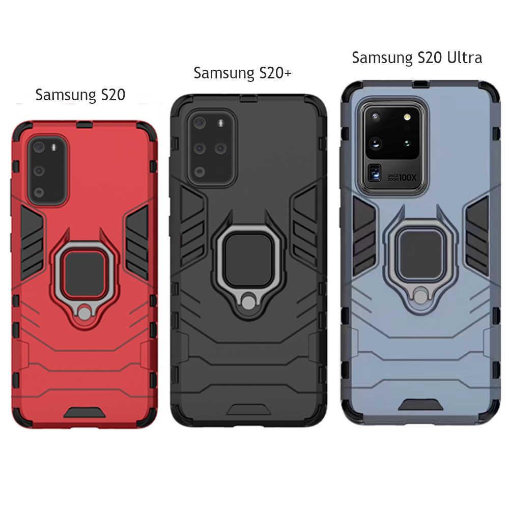 שריון מחשב כיסוי מתכת טבעת מחזיק טלפון מקרה עבור סמסונג S20 Ultra 5G A51 A71 כיסוי עמיד פגוש טלפון מקרה עבור Samsung A50