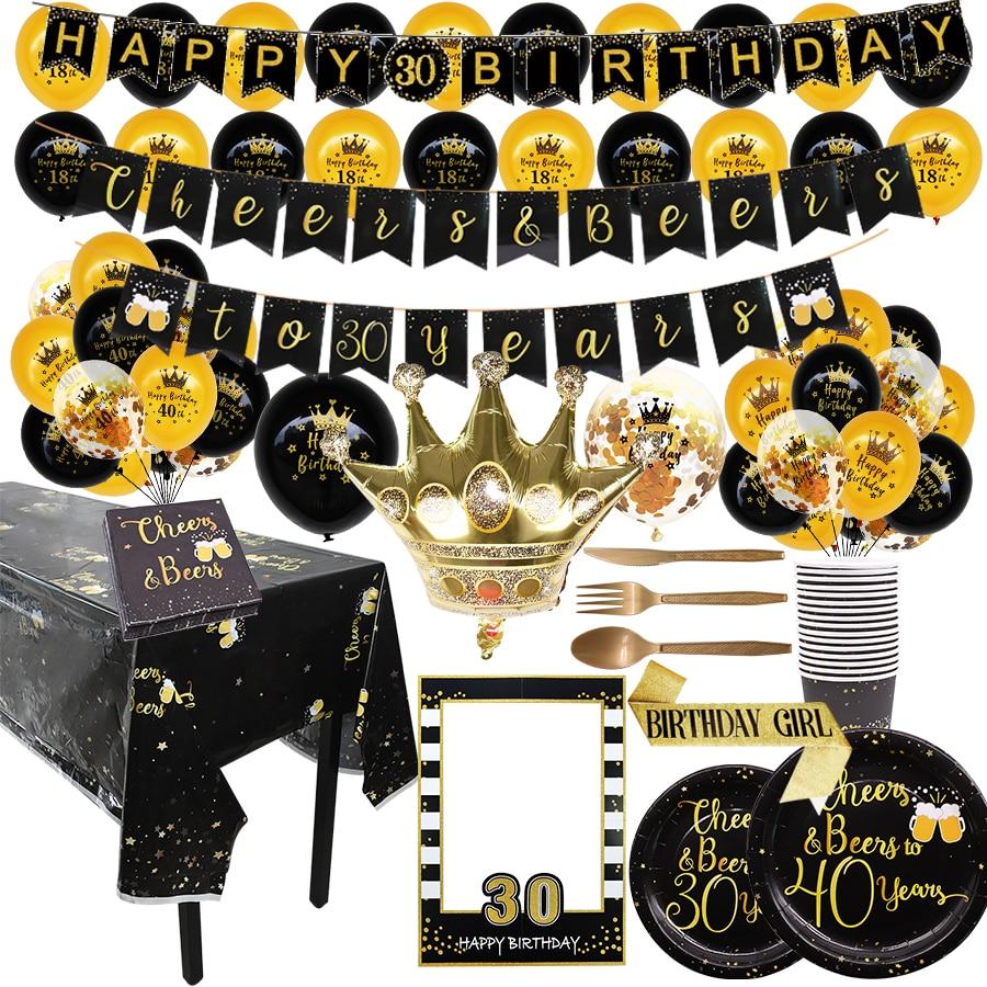 Decorações de aniversário para 30 40 50 anos de idade mulher homem adulto aniversário pendurar confetes balão banner utensílios de mesa decoração