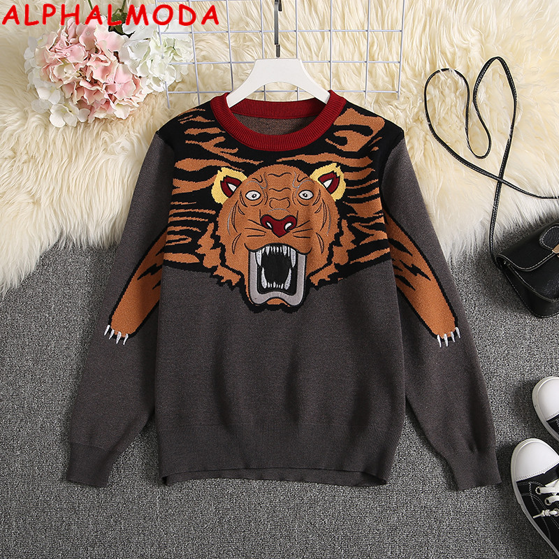 ALPHALMODA Embroidered Tiger Pattern High Quality Women Sweater Heavy-work Female Winter Fashion Jumpers