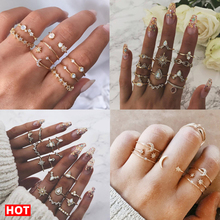 17KM 30 Design Vintage Gold Star Moon Rings Set For Women BOHO Opal Crystal Midi Finger Ring 2019 Female Bohemian Jewelry Gifts 17km vintage gold crystal rings set moon star beads ring for women metal charm ring bohemian wedding fashion jewelry party gifts