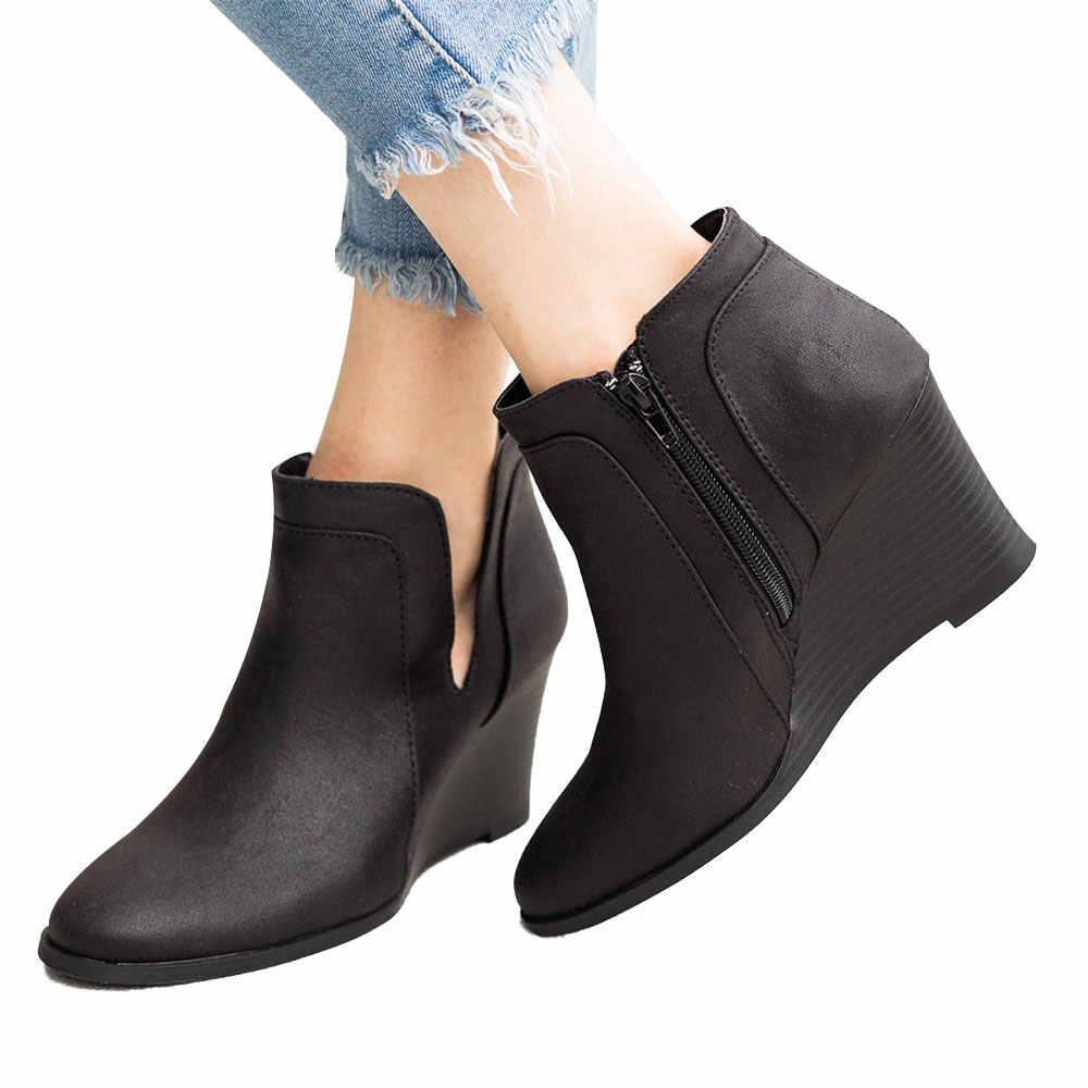 LASPERAL kış ayakkabı kadın çizme yüksek topuk 2019 rahat V açık tasarım dantel-on ayak bileği ayakkabı kadın sonbahar kısa ayakkabı kadın