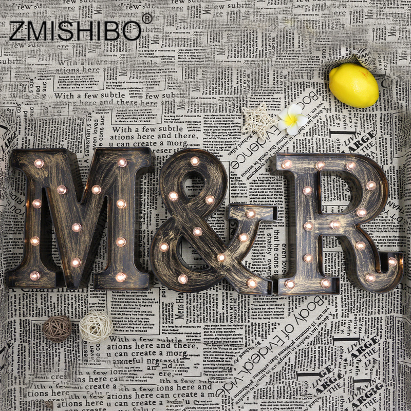 ZMISHIBO Industrial Style 26 Letter LED Night Lamp Wall Letters Decoration For Coffee Indoor Accessories 3D Alphabet Bar Lights