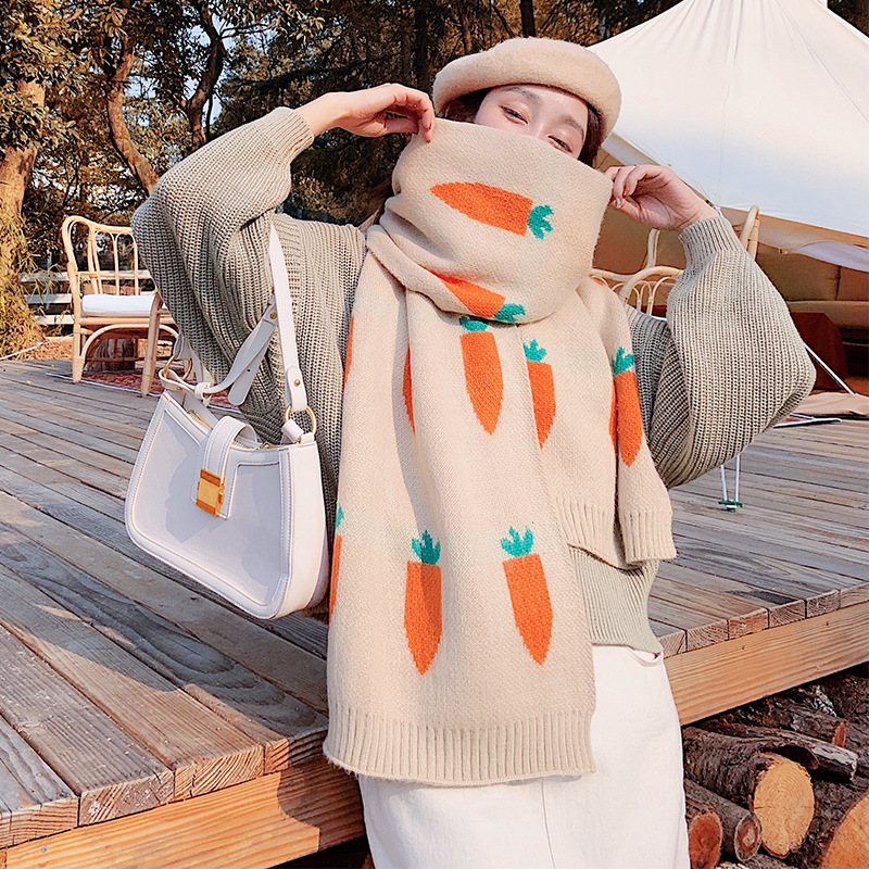 Brand New Scarf Women Winter Korean Version Versatile Wool Thickened Warm Radish Double Sided Student Isn Bib Dual Purpose Shawl