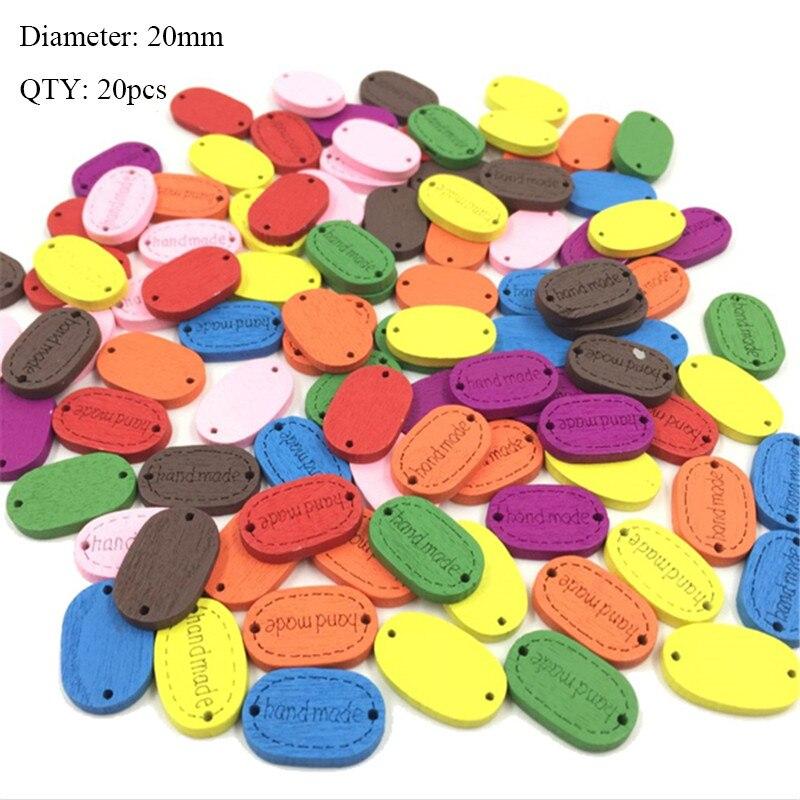 20 шт деревянные пуговицы для рукоделия, аксессуары для скрапбукинга, декорации, botones de madera para manualidades - Цвет: K04