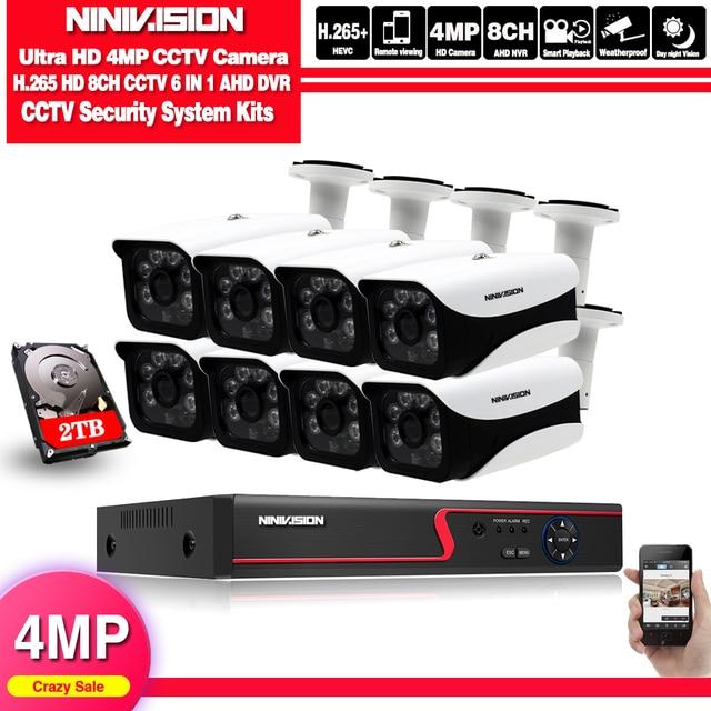 4mp hd cctv 시스템 8ch ahd dvr 키트 8 pcs 4.0mp 2560*1440 6 * 어레이 led 보안 카메라 야외 감시 키트 쉬운 원격보기