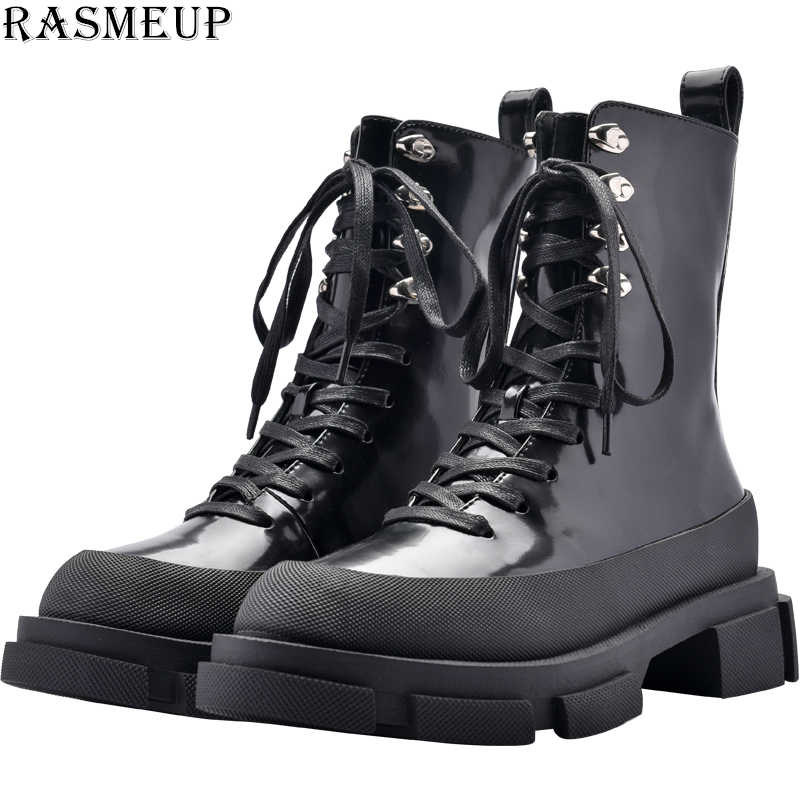 RASMEP Patent Leather Women's Motorcycle Boots 2020 Brand Women Platform Ankle Martin Boot Fashion Rivets Ladies Shoes Winter