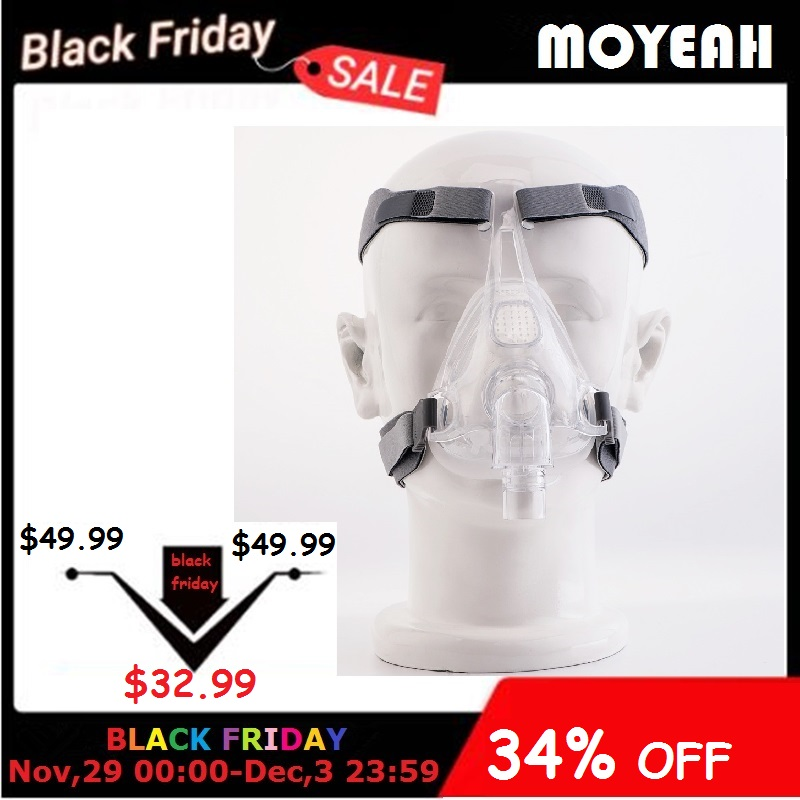MOYEAH CPAP Machine Mask Full Face Mask With Adjustable Headgear Strap Clip For Sleep Apnea Anti Snoring Treatment Solution