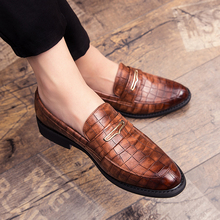 Fashion Pointed Toe Dress Shoes slip on Men Leopard Loafers Patent Leat