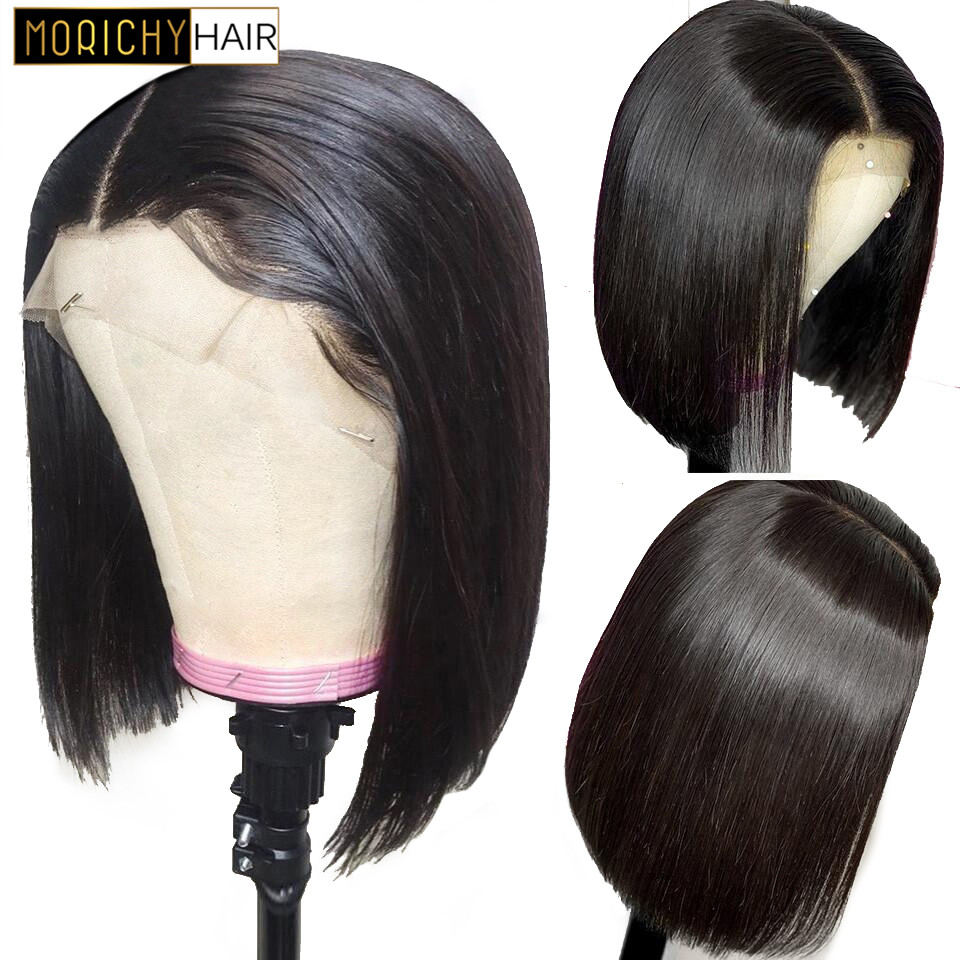 13x4 Lace Short Bob Wigs 130% Brazilian Remy Hair Lace Front Human Hair Wigs Pre-Plucked Bleached Knots With Baby Hair