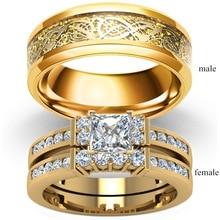 Par de anillos joyería Vintage dragón Acero inoxidable hombres anillo romántico circón anillo conjunto nupcial compromiso regalo