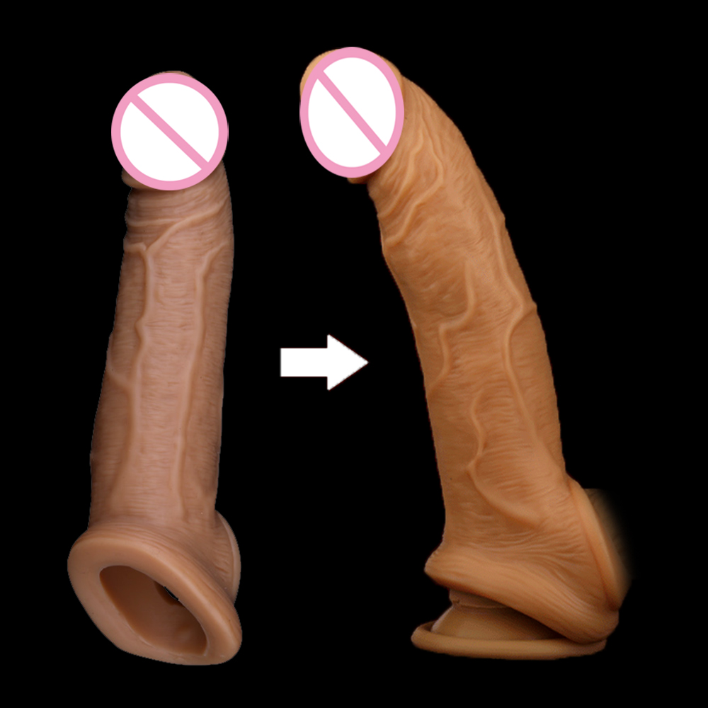 Yunman Liquid Silicone Penis Sleeve Extender With 60mm Solid Glan Reusable Condoms For Male Penis Enlargement High Quality title=